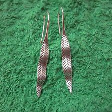 Hill Tribe Earrings Pure Silver Handcrafted Artisan Long Curly Leaf Ferns er068