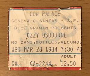 1984 OZZY OSBOURNE SLADE SAN FRANCISCO CONCERT TICKET LAST SHOW W ORIGINAL BAND