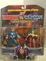 "TOY BIZ MARVEL VS. CAPCOM 1999 Captain America vs. Morrigan 5"" Figure set NIP😃"