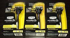 3 NEW Schick HYDRO 5 Sense Energize Men's Razor (3 handles & 6 cartridges total)