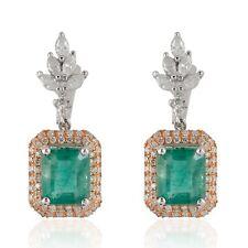 Genuine 4.45 TCW Emerald Gemstone Dangle Earrings SI/HI Diamond 18k White Gold