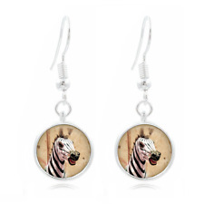 Zebra African glass Frea Earrings Art Photo Tibet silver Earring Jewelry #512