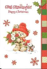CHRISTMAS CARD FOR A GREAT GRANDDAUGHTER - BEAR CARRYING FLOWERS