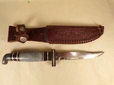 Vintage Bird & Trout Hunting Knife w/ Leather Sheath