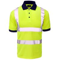 Supertouch Yellow Navy High Visibility Mens Work Polo Shirt Short Sleeve Collar