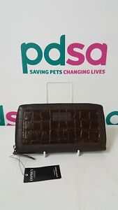 Osprey London Brown Leather Croc Pattern Purse By Graeme Ellisdon w. Tag - R782