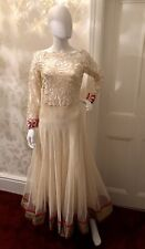 Pakistani Asian Party Dress Cream , Elegant Stylish Long , With Scarf & Leggings