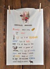 Geschirrtuch weiss Rezept Brownies Weihnachten Artefina, dänisches Design Shabby