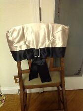 Lot Of 25 Champagne Black Bow Wedding Anniversary Party Chair Caps Slip Cover