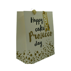 Happy Cake & Prosecco Day Medium Birthday Gift Bag Gold Foil Finish Gift Tag