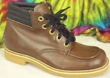 size 8-8.5 vintage 60's NOS brown leather JOHN HERBST lace-up ankle work boots