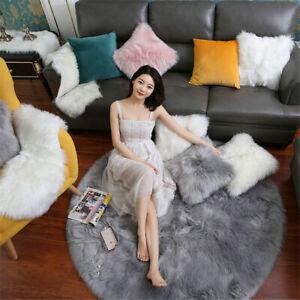 Round Faux SHEEPSKIN Fur Rug Fluffy Area Rugs Hairy Bedroom Floor Mat Carpet
