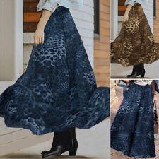 US Womens Summer Hight Waist Leopard Printed Causal Loose Dress Long Swing Skirt