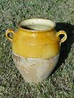 French antique art Pottery pot a confit Redware faience yellowware.
