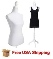 Female Adjustable Mannequin Dress Form Sewing Torso Display Tripod White New