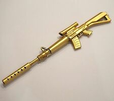 Novelty Gun Shaped Pen Key Ring Rifle Golden School Stationery Gift - UK SOLD!