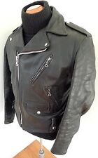 ✰ BECK X SCHOTT Vintage BLACK Steerhide Leather Motorcycle Jacket BRANDO 50s 60