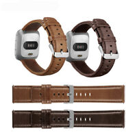 Genuine Leather Strap Band WristBand For Fitbit Versa Smart Watch