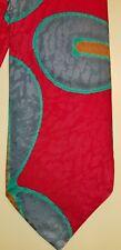 Robert Daskal Abstract Artist Signed Red Silk Necktie Tie 57 x 3-3/4