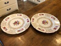 "Set of 2 - 1900s EPIAG Royal Czechoslovakia Dinner Plates 11"" White Gold Red"