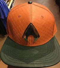 Marvel Comics AQUAMAN Suit Up Leather SnapBack Hat. NWT. One Size Fits All