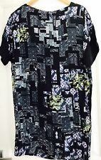 VERONIKA MAINE WOMENS DRESS VISCOSE PRINT FABRIC FROM EU WORK PARTY SZ 8