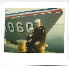 Vintage 80s Kodak Instant PHOTO Man & Little Boy In Sailor Outfits Uniforms