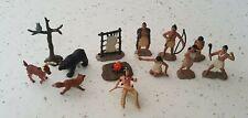 Lot of 13 Safari Ltd Mini Figurines - Native American Indians, Animals + - Euc