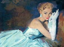PAINTING WOMAN LOUNGE ILLUSTRATION GREENE BAIT EVENING GOWN POSTER PRINT LV2979
