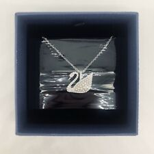 NIB Genuine Authentic Swarovski Iconic Swan Pendant White Rhodium Plated
