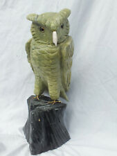 Gravur Vogel Eule Serpentin 5,58 kg, 32 cm hoch