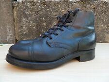 Vintage US 1950s Black Leather Cap Toe Boots Service Shoes Size 8.5