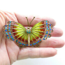 """Silver Gilt and Enamel Butterlfy Brooch Huge Vintage Chinese Export - 2 1/2"""" +"""