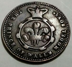 Prince of Wales Model 1/2 Sovereign Antique Gaming Token British Queen Victoria