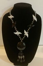 """28"""" chain Long Sweater Necklace in Black Agate  Donut Circle Shape Pendant"""