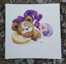 pokemon watercolor painting Cute Teddiursa Teddy Bear Dreaming Moon