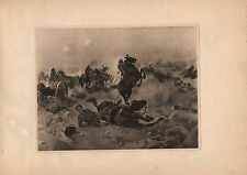 Antique military print ~ bataille de Tugela (1900) mauser fusil artillery howitzer