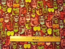MOD OWLS PINK TEAL DUSTY PURPLE OWL COTTON FABRIC FQ