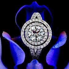 1.5 CT Round Cut Diamond Engagement Ring 14k White Gold Enhanced D/SI1
