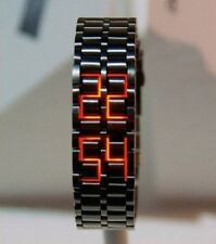 NEW Men's Ninja Black Digital Watch Bracelet Lava Red LED Futuristic Sci-Fi Cool
