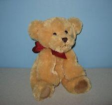 """10"""" Russ So Soft """"Giles"""" Tan Teddy Bear Bean Plush w/ Red Ribbon Bow"""