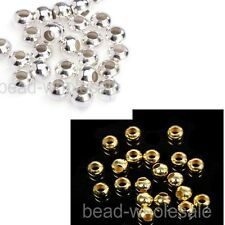 Wholesale New 100-500pcs Spacer Beads Silver/Golden Plated Round Ball 4-8mm