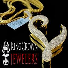 10K Yellow Gold Silver Initial Letter Alphabet L Pendant Diamonds Charm + Chain
