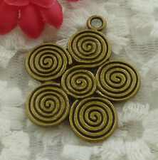 free ship 66 pieces bronze plated flower pendant 35x30mm #2219