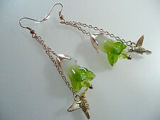 Vintage Art Deco Style Hummingbird, Crystal, Cabbage Glass Flower Long Earrings