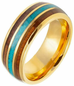 8mm TUNGSTEN CARBIDE MEN'S YELLOWGOLD IP PLATED CRUSHED TURQUOISE INLAY 7-15