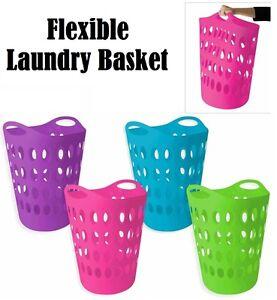 Flexible Plastic Laundry Washing Basket With Handles Bin Clothes Storage Hamper