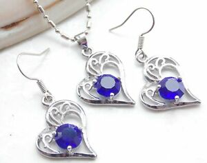 A21 Fashion Necklace Crystal Blue Pendant Chains earrings Set