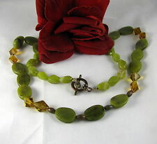 Gorgeous Green Gemstone & Crystal Beaded Necklace   CAT RESCUE