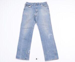 Vtg 80s Streetwear Mens 34x34 Western Bootcut Distressed Denim Jeans USA Made